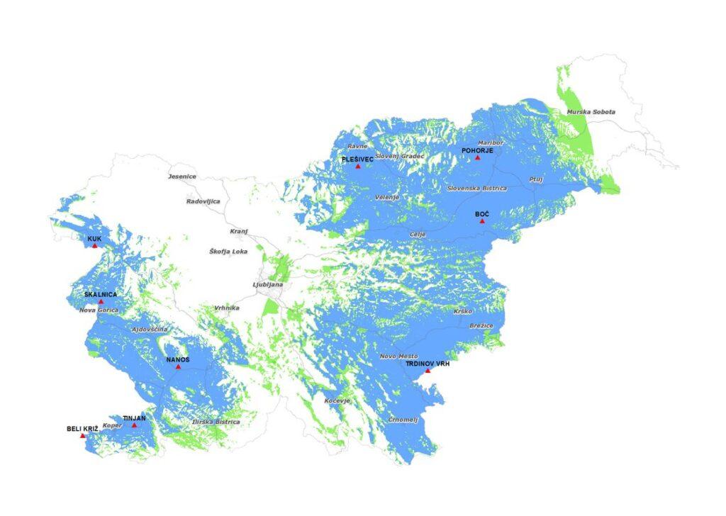 Pokrivanje DAB+ R2 omrežja z 9. lokacijami Foto: OZ RTV SLO