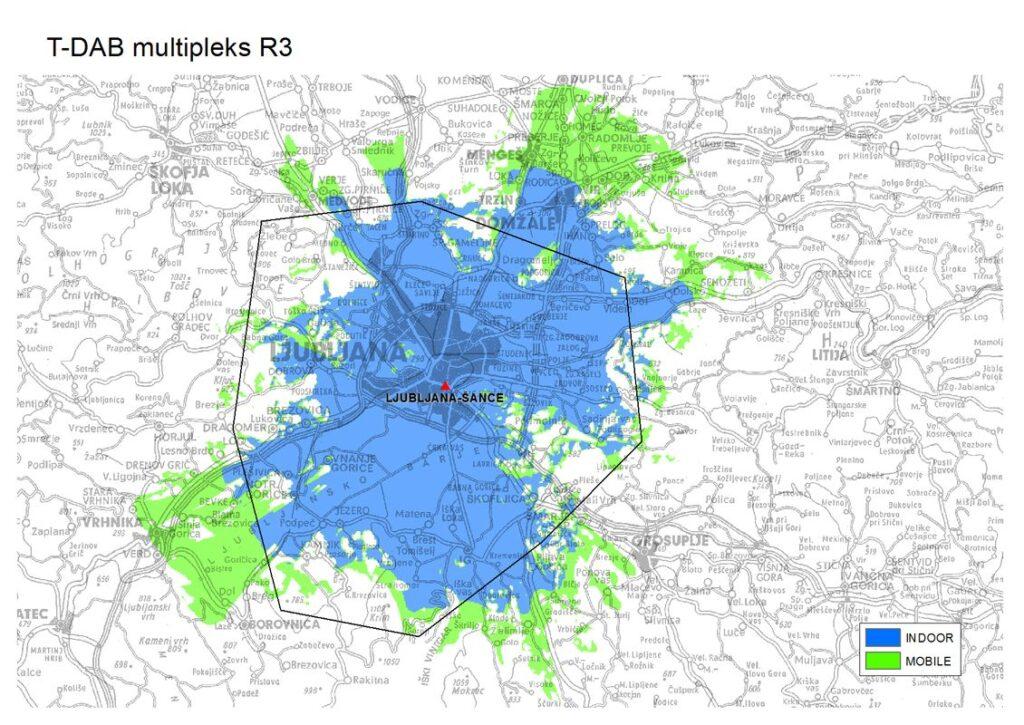 Območje in pokritost omrežja DAB+ R3 z eno lokacijo Foto: OZ RTV SLO