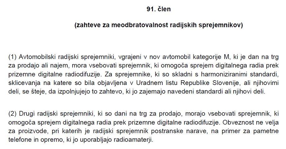 Besedilo predloga 91. člena ZEKom-2